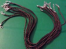 Brown and black braided  faux leather necklace x 10  app 3mm wide x app 46c long