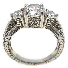 925 STERLING SILVER LADIES PAST/PRESENT/FUTURE WEDDING RING/SZ 5-9 / W/ DIAMOND