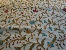 CREWEL EMBROIDERY, BEIGE, RED, GREEN, BY THE YARD