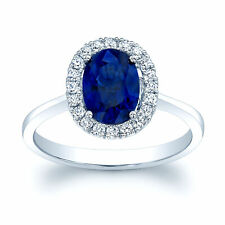 14k White Gold Natural Oval Blue Sapphire Diamond Halo Solitaire Ring Plain Band