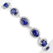 RARE NATURAL OVAL 7x5mm RICH BLUE SAPPHIRE-W CZ STERLING 925 SILVER BRACELET