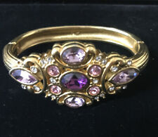 AUTHENTIC SWAN SIGNED SWAROVSKI Oval BANGLE BRACELET Purple Pink Clear Crystals