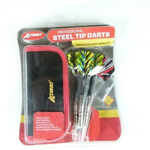 Accudart Professional Steel Tip Darts 24 Grams Wallet Holder - NIckel Finish NEW