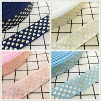 NEW DIY 5 Yards 25mm Gilding Heart-shaped Grosgrain Ribbon Hair Bow Party Sewing