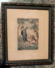 Antique Watteau Hand Colored on Etching Print Framed and Signed Watteau Print
