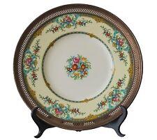MINTON Antique Plate Hand Painted Porcelain Sterling Silver Rim