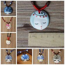 New 1pc Ethnic Handmade Ceramic Facebook Doll Head Pendant Necklace For Unisex