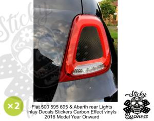 Fiat 500 Sport 595 Abarth rear Light stickers Carbon Effect Inlay 2016+ Model Yr