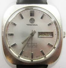 1970's Gents SS Tressa Automatic 25J ETA 2788 Day Date Watch Serviced Warranty