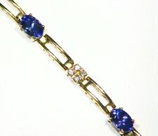 3.22CT 14K Gold Natural Tanzanite Diamond Vintage AAAA Halo Tennis Bracelet Deco