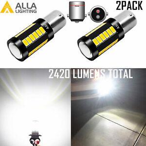 2X 12V LED 6000K White Trunk Cargo Area Light or Courtesy Light Bulb Lamp BA15D