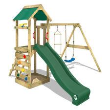Parco giochi legno Altalena con scivolo verde e sabbiera - WICKEY FreeFlyer
