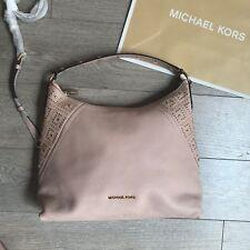 NEW RRP £350 Michael Kors ARIA MD Shoulder Bag Rose Beige Pebbled Leather MK Bag