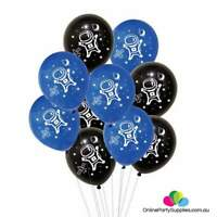 """10 x 12"""" Black & Blue Astronaut Latex Party Balloons Outer Space Spaceman Rocket"""