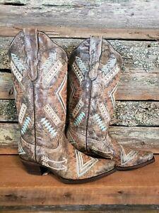 Women's CORRAL E1037 Western Multi Colored Diamond Print Leather Cowboy Boots.10