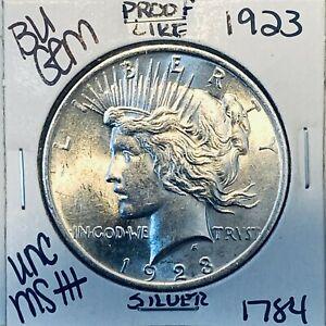 1923 P BU GEM PEACE SILVER DOLLAR UNC MS+ GENUINE U.S. MINT RARE COIN 1784