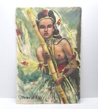 Vtg Watercolor Painting Tiki Bar Decor Wahine Woman Nude Polynesian Hawaiian
