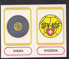 PANINI CALCIATORI FOOTBALL Adesivo 1977-78, N. 474, SVEZIA & SVIZZERA DISTINTIVI