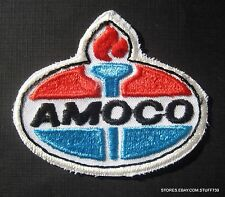 "AMOCO EMBROIDERED SEW ON PATCH GAS OIL UNIFORM TORCH LOGO BADGE 3"" x 2 1/2"""