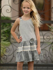 Isobella & Chloe Drop Waist Darcy Knit Black & Ecru Girls Dress Size 4-14  NWT