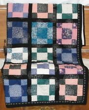 Full Size Quilt, Multi Colored Blocks with Black Borders 60 x 75 Machine Quilted