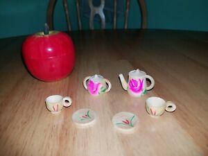 Vintage Wooden Apple Miniature Tea Set Playset 50s 60s HTF