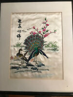 "Vintage Asian Embroidery on Silk ""Two Peacocks Scene"" - Signed And Framed"