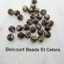 50 - 8mm Cloisonne Burgundy Maroon Color Round  Loose Beads  with Floral Design