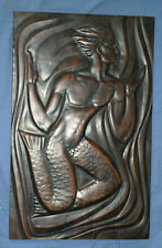 Mermaid Wall Decor Plaque Rectangle Vintage - Bronze Coating 1960s or 1970s Rare