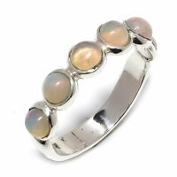 Ethiopian Fire Opal Natural Gemstone 925 Sterling Silver Ring Size 8 R-142