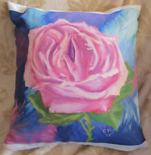 13X13 inch Decorative Pillow w/  Rose and Praying Hands