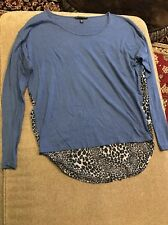 Victorias Secret Blue Leopard Print Long Sleeve Tee Shirt Top Small (JC)