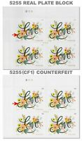 5255 & 5255(CF1) Real & Counterfeit Love Flourishes 2 Plate Blocks MNH - Buy Now