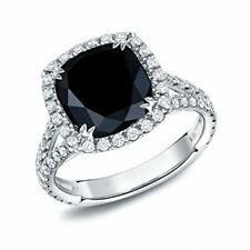 3.15ct Halo Black Cushion Cut Moissanite 925 Sterling Silver Engagement Ring Set