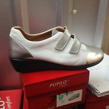 Ladies White/Silver Leather Shoes Size 4