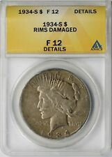 1934-S $1 ANACS F 12 Details (Rims Damaged) Peace Silver Dollar