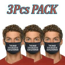 3pcs This Mask Is As USELESS As Our Governor Funny Face Mask Fabric Cotton Cover