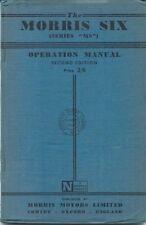 Morris Six Series MS Original Operation Manual (Handbook) 1949