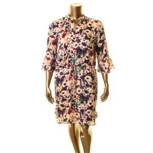 LAUREN RALPH LAUREN Women's Bell Sleeve Drawstring-Waist Shirt Dress 14P $155