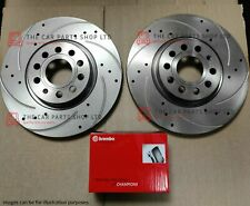 FOR AUDI A4 2.0 TDI 2008-2015 STANDARD DRILLED GROOVED FRONT DISCS & BREMBO PADS