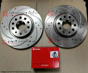 FOR TOYOTA AVENSIS 2.0 D-4D 2009> DRILLED GROOVED FRONT DISCS & BREMBO PADS