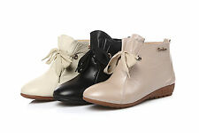 Womens Comfort Shoes Genuine Leather Flat Heels Lace Up Ankle Boots US Size b319