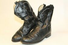 Dan Post DPP710 Mens 11 EW Wide Ostrich Skin and Leather Pull On Western Boots