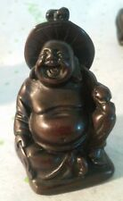 Buddha Sitting Laughing Figurine Resin Statue (The Look Of Carved Ironwood)