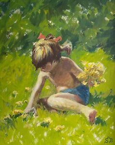 """SOEREN BRUNOE(1916-1994) """"GIRL PICKING FLOWERS"""""""