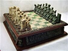 """RARE COWBOY GUNSLINGERS STONE CHESS SET TABLE LARGE 20"""" MADE IN MEXICO 6"""" KING"""