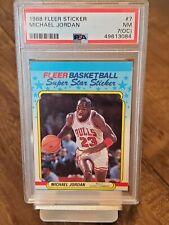 1988 FLEER STICKER BASKETBALL #7 Michael Jordan PSA 7(OC) NM