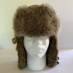 Mad Bomber Rabbit Fur Lined Trim Trapper Aviator Hat Unisex Size M Brown