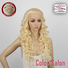 """HAND TIED 3"""" Flesh LACE FRONT WIGS Glueless Heat Safe Super Long 99L(3)#613(F)"""