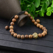 Fashion 8mm Gold Lion head Wood Grain Lucky Energy Adjustable Bracelet Jewelry
